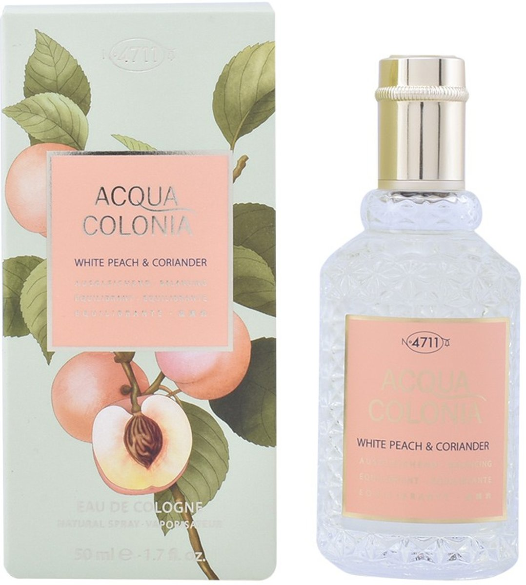 MULTI BUNDEL 2 stuks ACQUA colonia WHITE PEACH & CORIANDER eau de cologne spray 50 ml