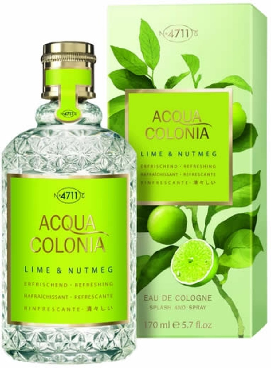 MULTIBUNDEL 3 stuks 4711 Acqua Colonia Lime And Nutmeg Eau De Cologne Spray 170ml