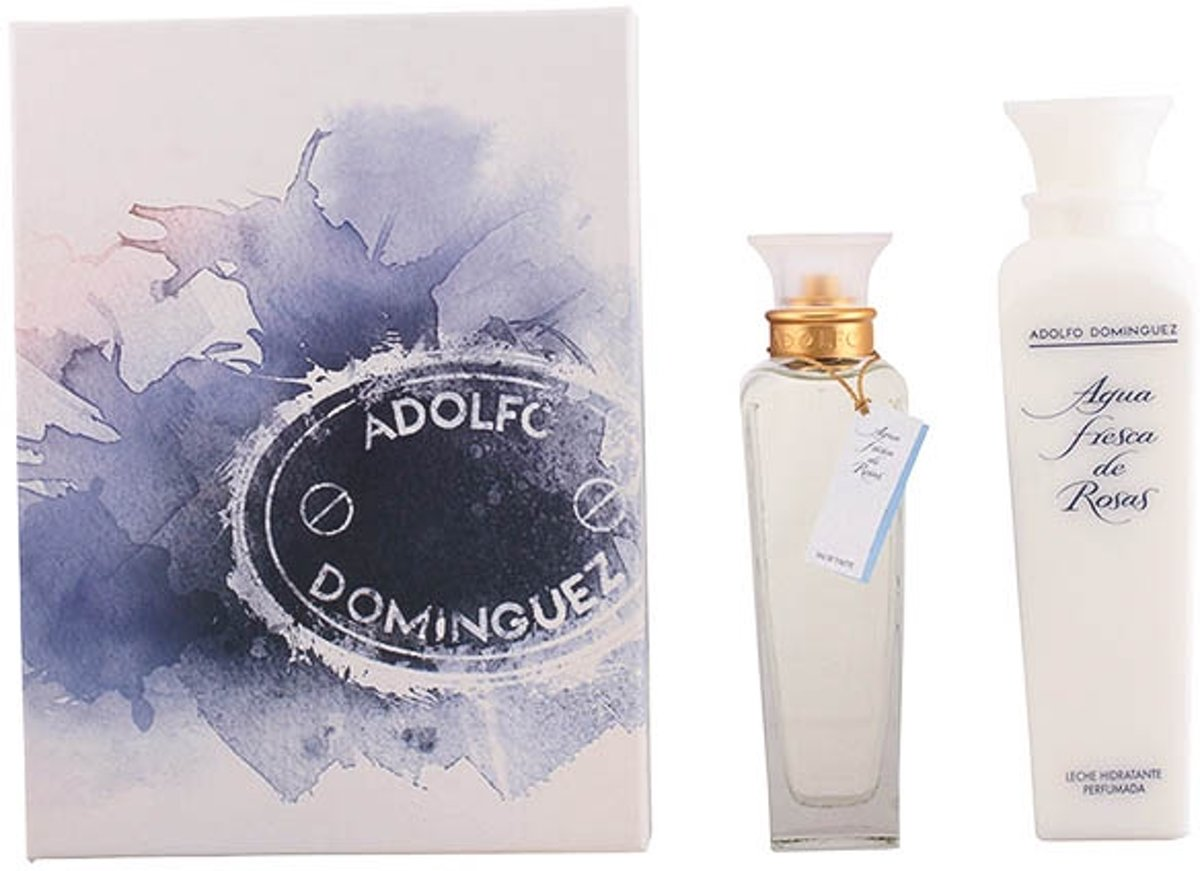 Geschenkset ADOLFO DOMINGUEZ AGUA ROSAS SET 2 stuks eau de toilette spray 200 ml + body lotion 500 ml