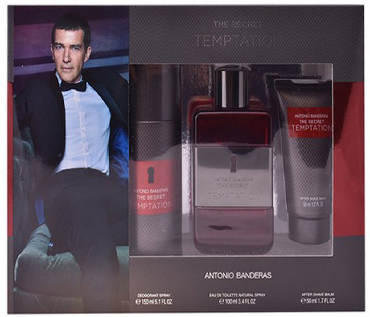 Antonio Banderas The Secret Temptation Man Eau De Toilette Spray 100ml Set 3 Pieces 2017