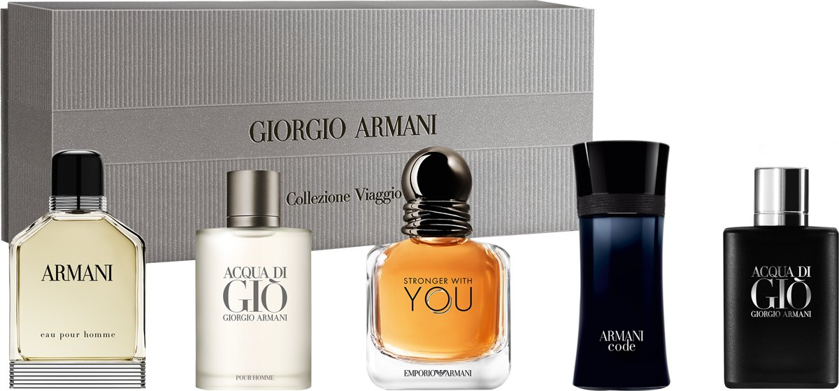 Armani M 5 Pc Mini Set Eau Pour Homme 7ml EDT + Acqua Di Gio 5ml EDT + Stronger With You 7ml EDT + Code 4ml EDT + Acqua Di Gio Profumo 5ml EDP