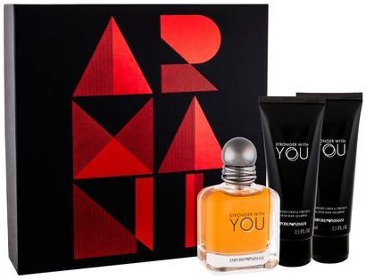 Armani Stronger With You Giftset - 50 ml eau de toilette spray + 75 ml showergel + 75 ml aftershave balm - herenparfum