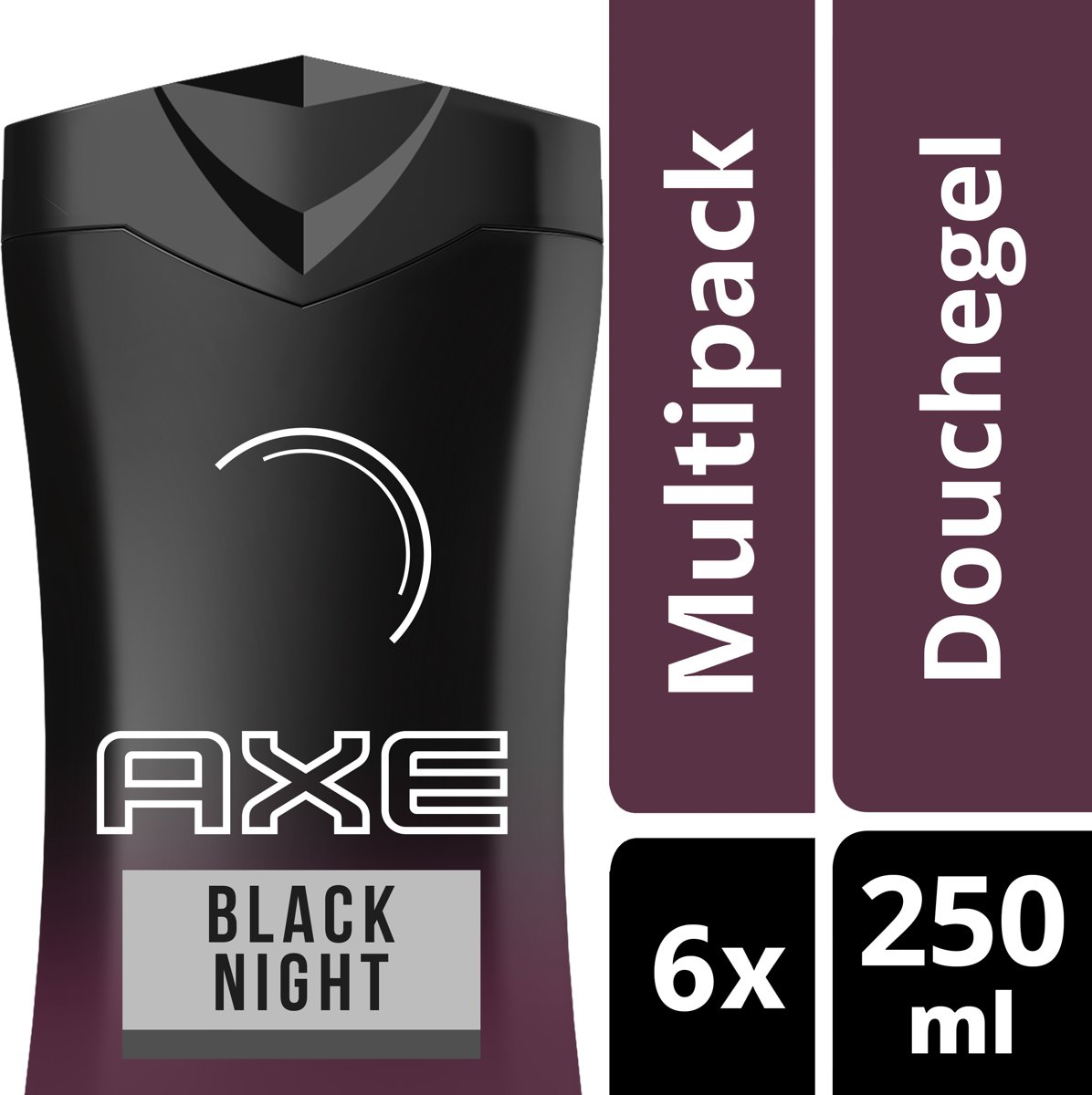 Axe Black Night For Men Douchegel  - 6 x 250 ml - Voordeelverpakking