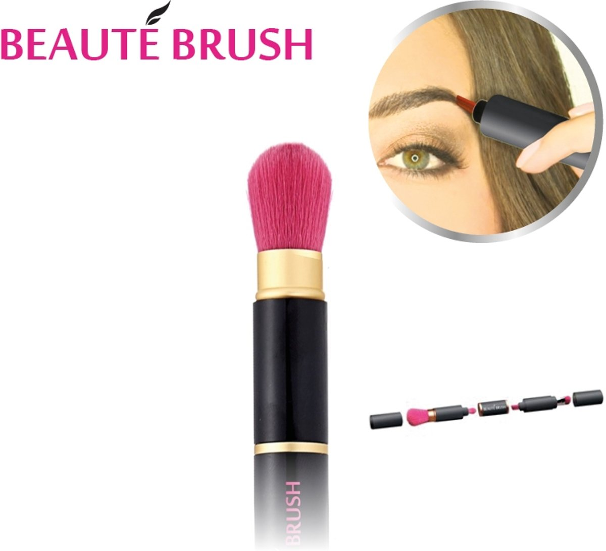Beauté Brush Black/Pink - 4-in-1 beauty tool