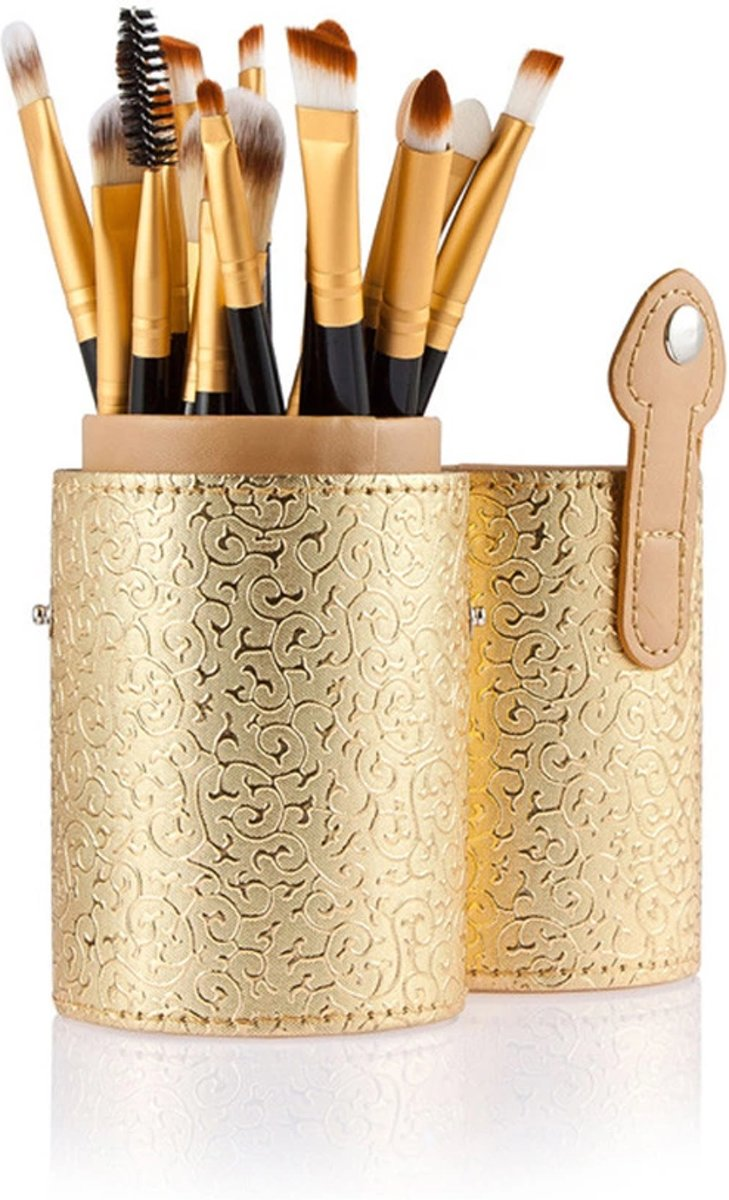15-delige Make-up Kwasten Set in Houder-Goud- Make-up Organizer- Moederdag cadeau- Bellasupplies
