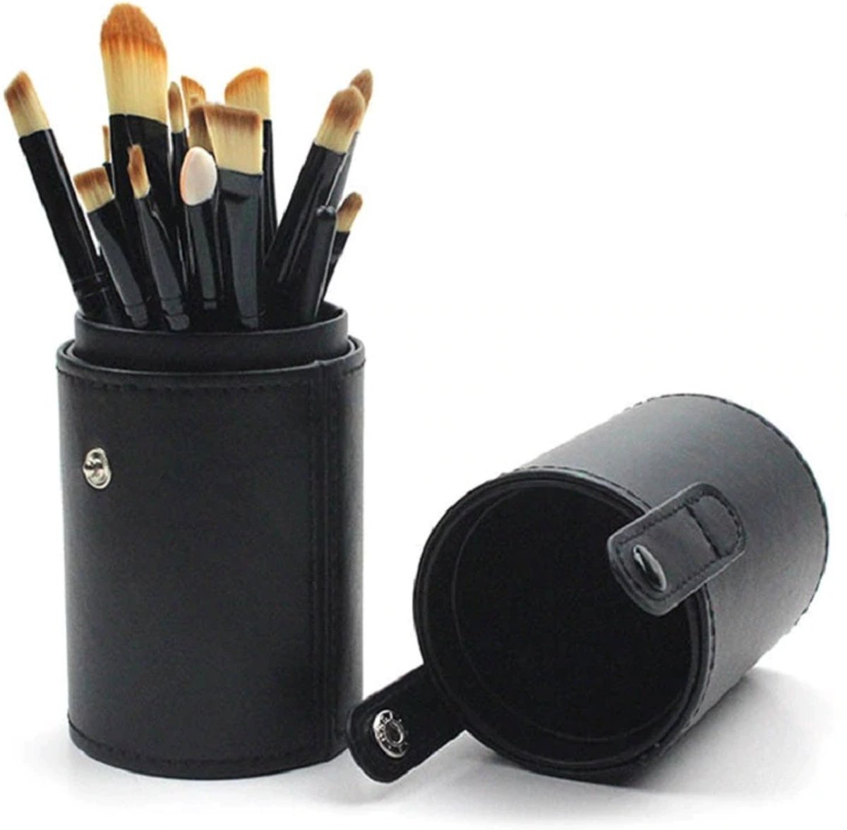 15-delige Make-up Kwasten Set in Houder-Zwart- Make-up Organizer- Moederdag cadeau- Bellasupplies