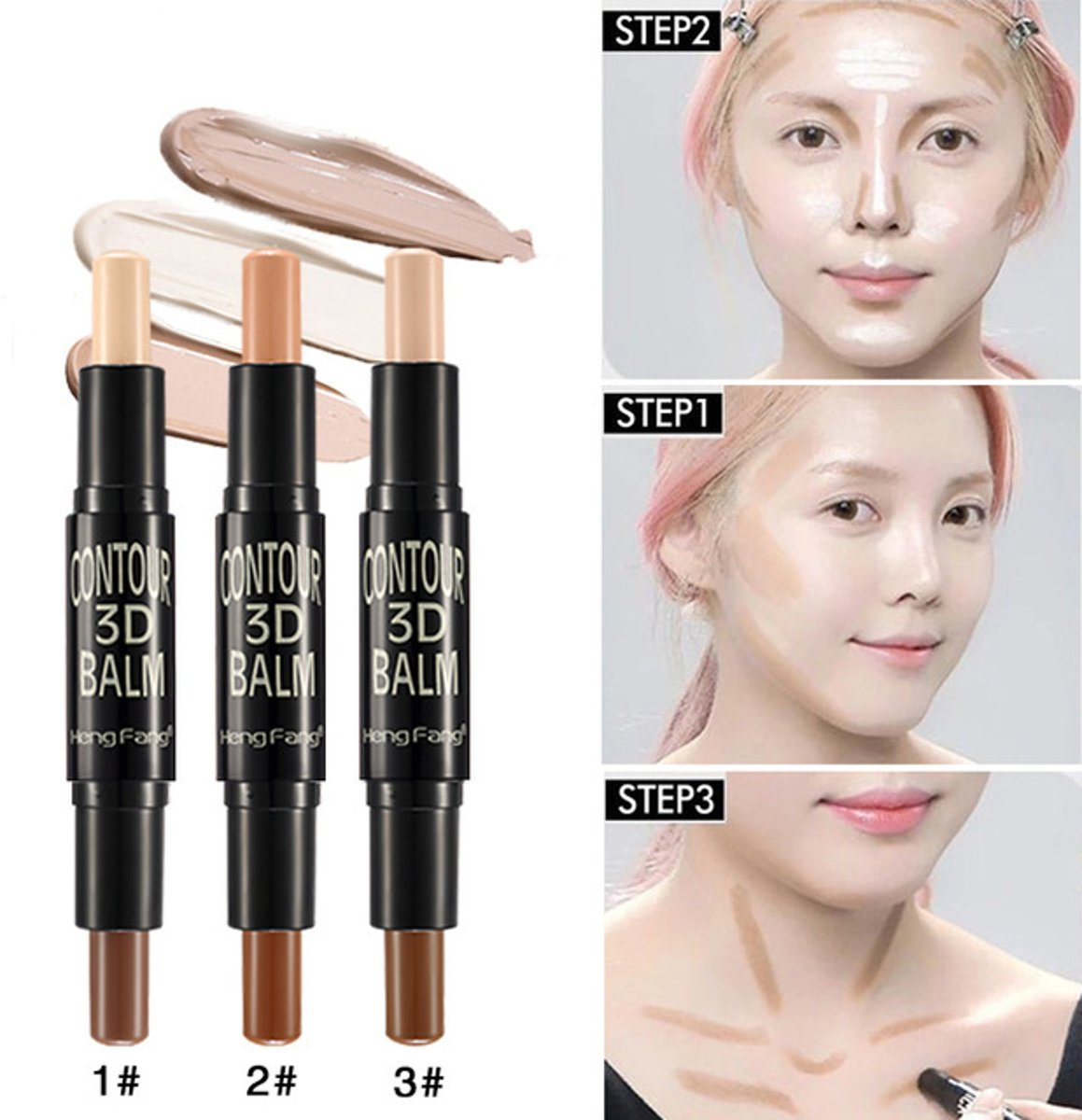 2-In-1 Contour Pen Stick 3D Concealer Highlighter Double Professional Wonder Stick Kleur 3 Licht+Bruin