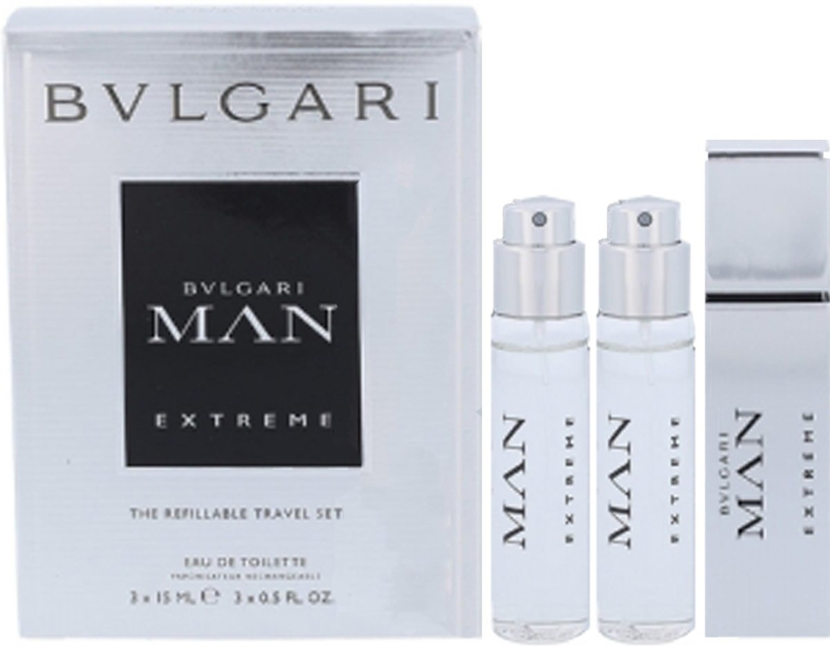 Bulgari Man Extreme 3 X 15ml Edt Refillable Travel Spray