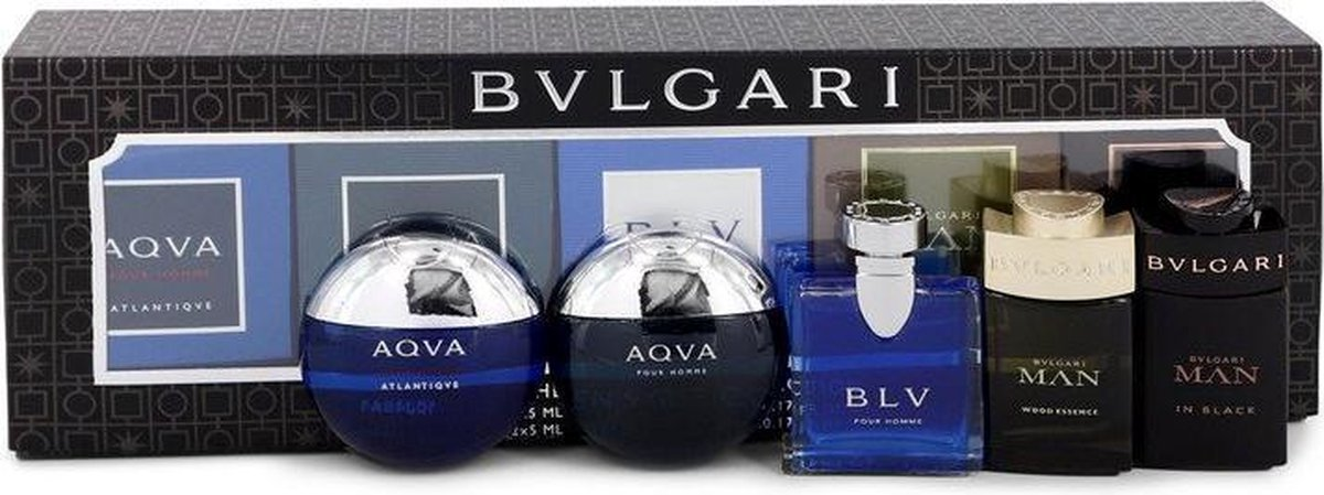 Bvlgari Man In Black Travel Size Includes Bvlgari Aqua Atlantique, Aqua Pour Homme, Blv, Man Wood Essence, Man In Black All In Sizes For Men Gift Set 5 Ml