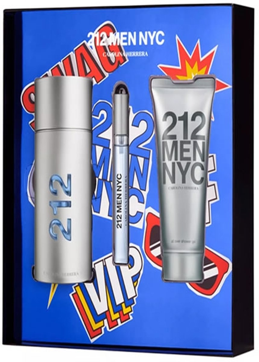 MULTI BUNDEL 3 stuks Carolina Herrera 212 Men Eau de Toilette Spray 100ml + Gel Aftershave 100ml + Megaspritzer 10ml