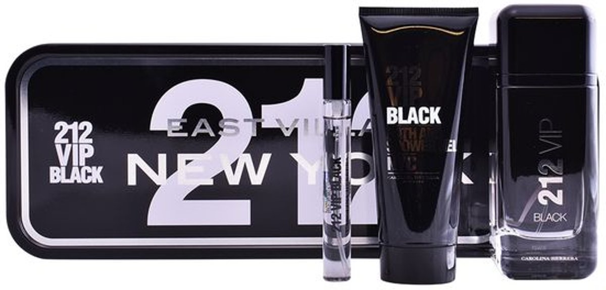 Parfumset voor Heren 212 Vip Black Carolina Herrera (3 pcs)