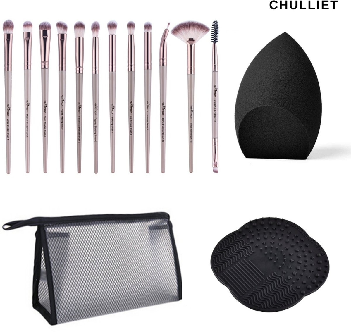 Chulliet – Complete 12-delige make-up kwastenset – Inclusief Beauty Blender – Kwastenreiniger – Etui