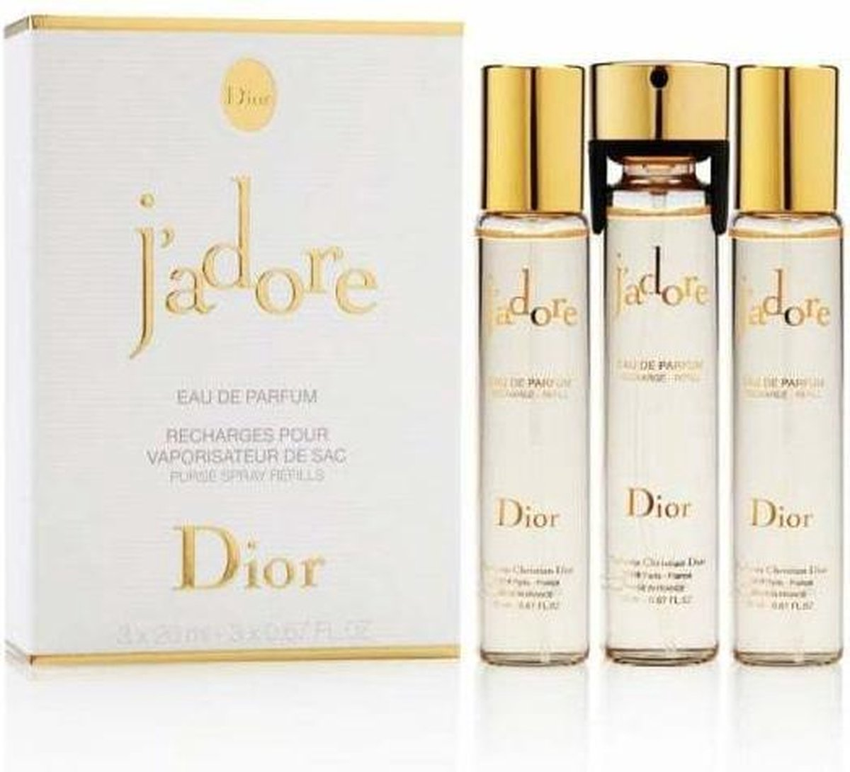 DIOR J Adore Purse Spray Eau de Parfum Spray Navulling 3 x 20 ml