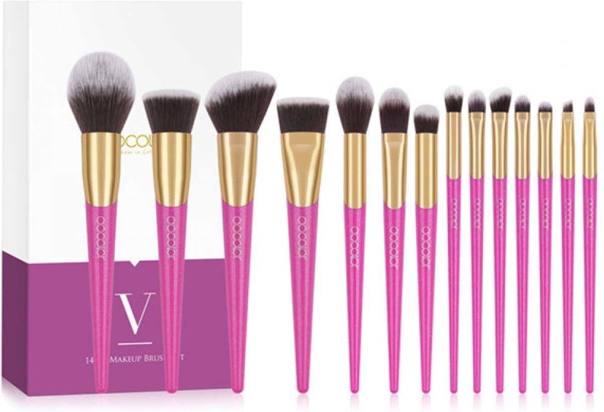 14-delige Make-up Kwasten Set – V Type - Roze - Docolor - Cosmetica en Make up