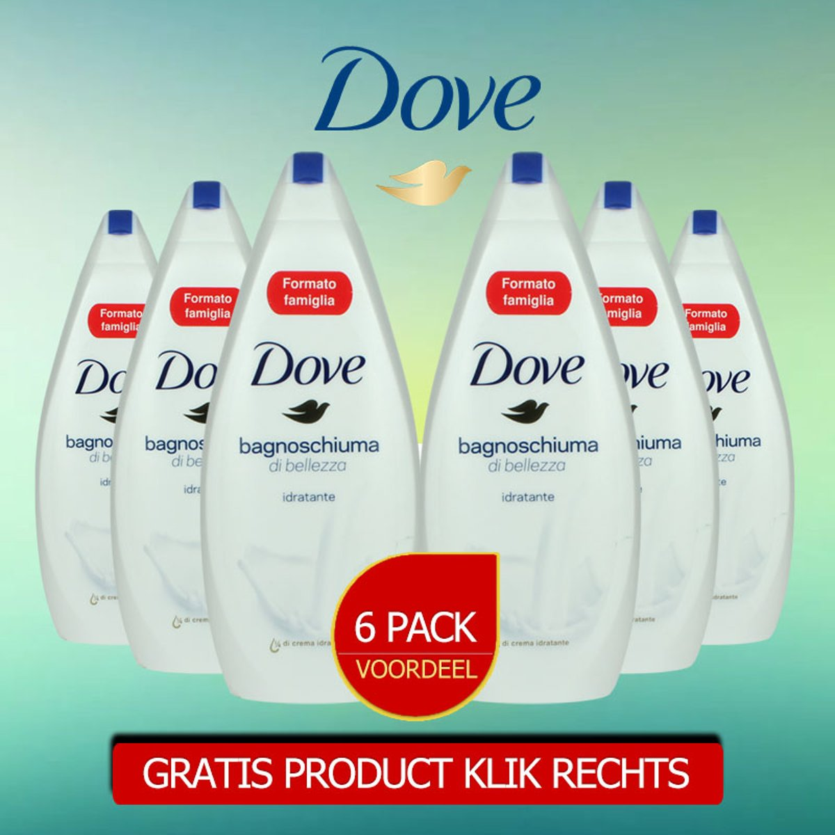 Dove Go Fresh Original Douchegel 700ml - 6 Pack Voordeelverpakking - Gratis Oramint Oral Care Kit 6 Delig