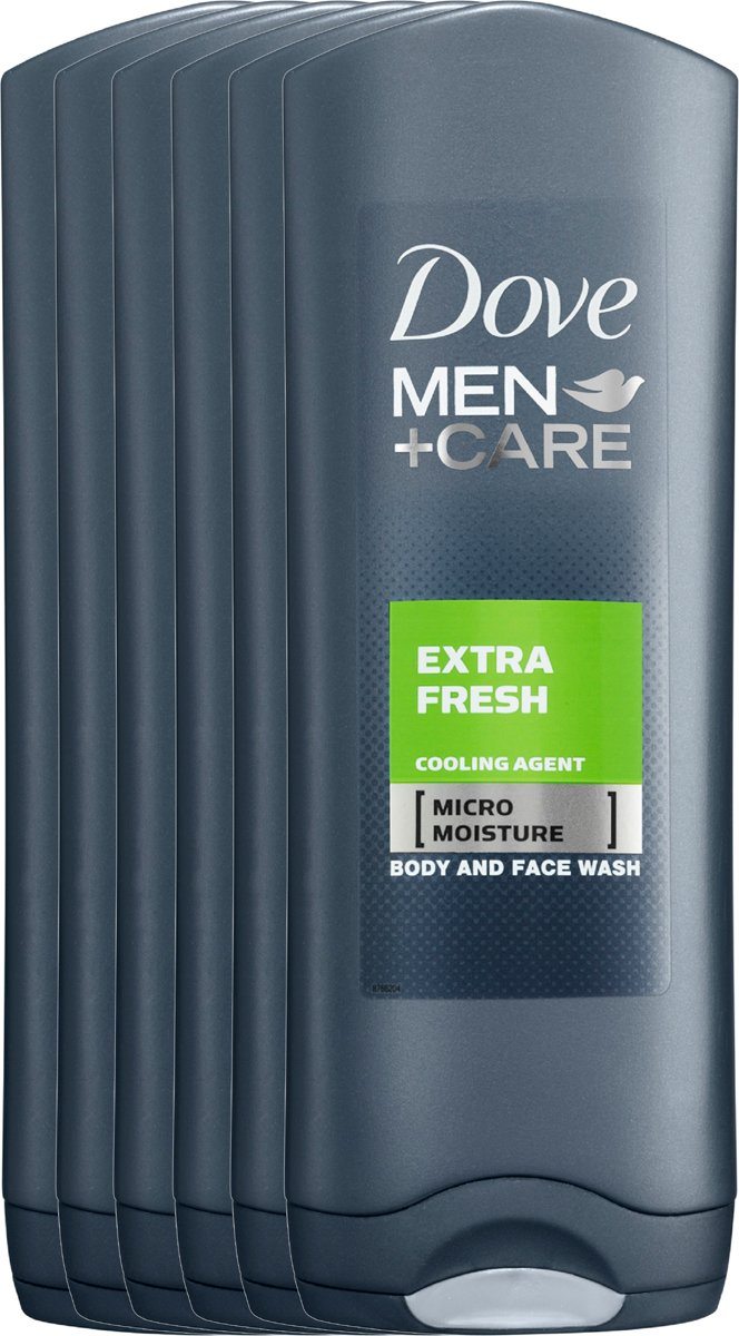 Dove Men+Care Extra Fresh - 6 x 250  ml - Douche Gel - Voordeelverpakking
