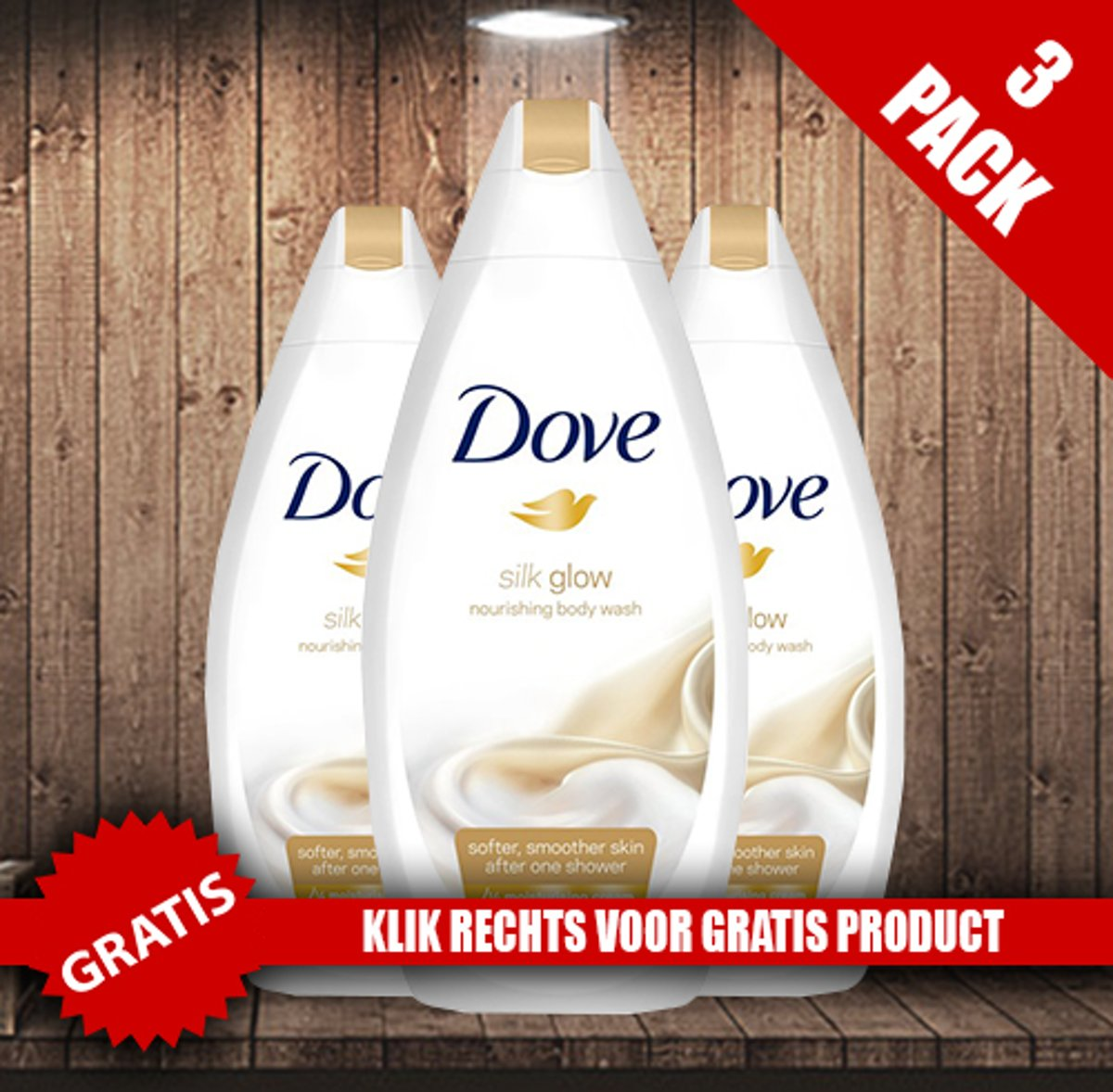 Dove Silk Glow Douchecreme 750 ml - 3 Pack Voordeelverpakking + Oramint Oral Care Kit 6 Delig
