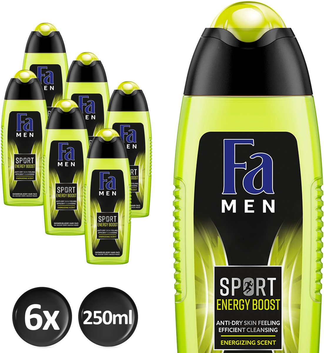 Fa Men Sport Double Power Power Boost - 6x 250 ml - Voordeelverpakking - Douchegel