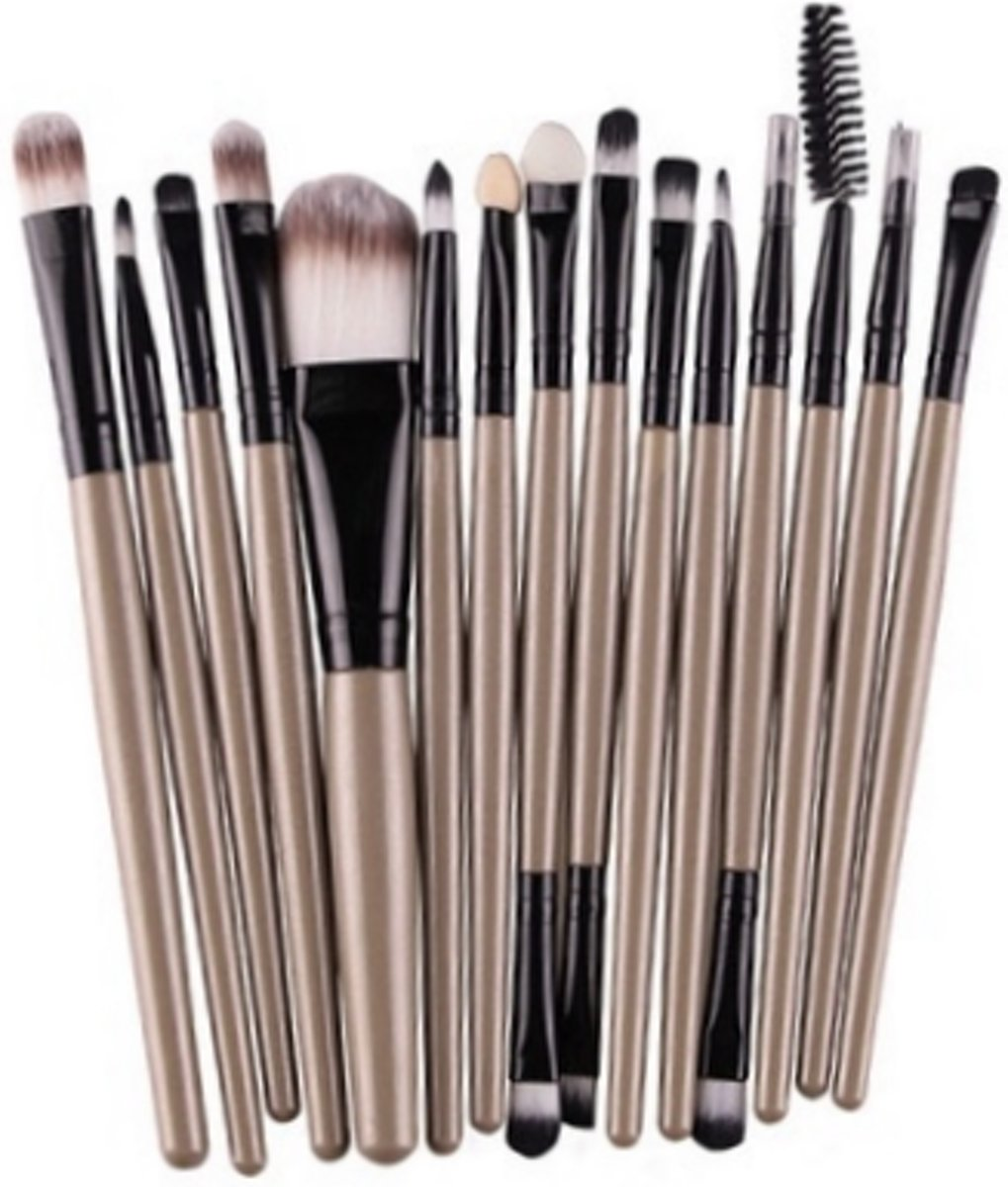 15-delige Make-up Kwasten/Brush Set | Brons | Fashion Favorite