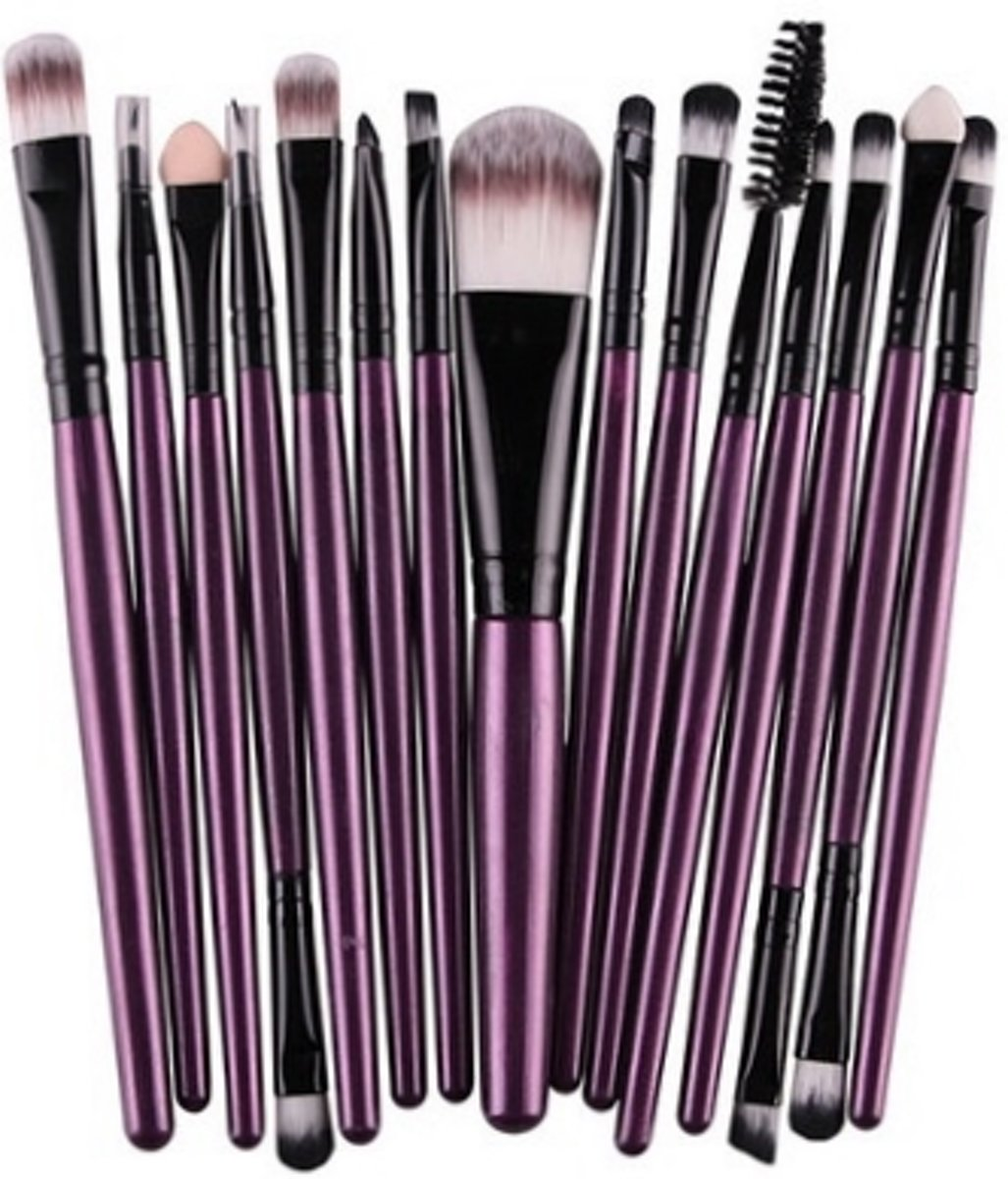 15-delige Make-up Kwasten/Brush Set | Paars | Fashion Favorite