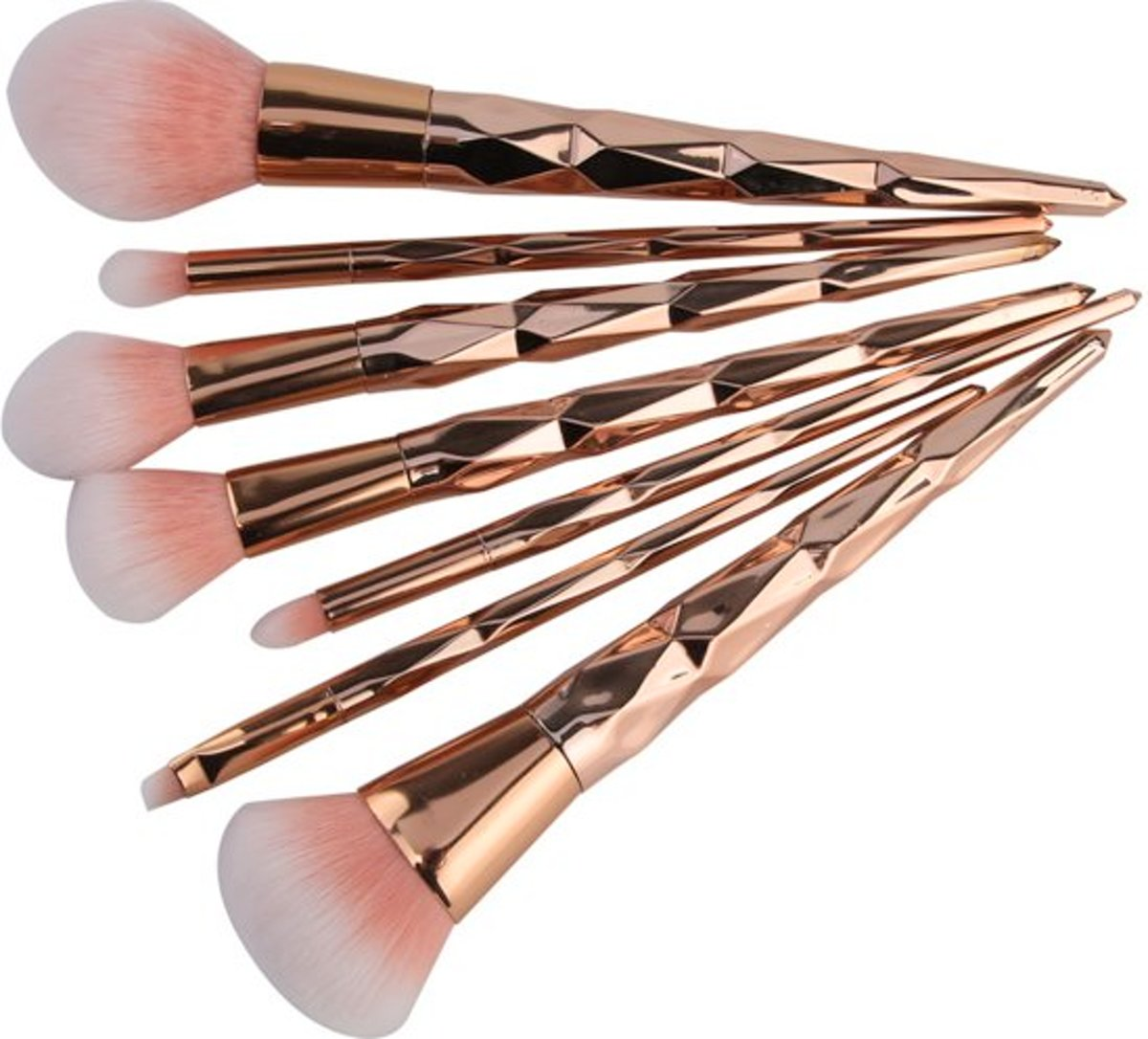 7-delige Make-up Kwasten/Brush Set | Shiny Rosegold | Fashion Favorite