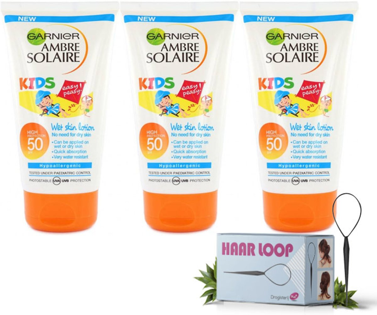 Garnier Ambre Solaire Kids Sensitive Expert Zonnebrandlotion SPF50+ 150ml - Voordeelverpakking + Gratis Haarloop