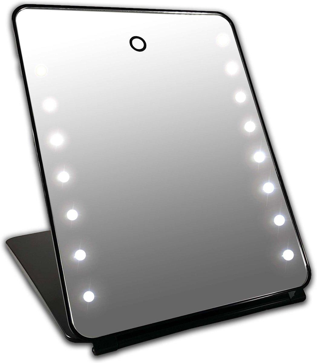 i pad make up spiegel zwart 16x led met touch sensor. Black Bedroom Furniture Sets. Home Design Ideas