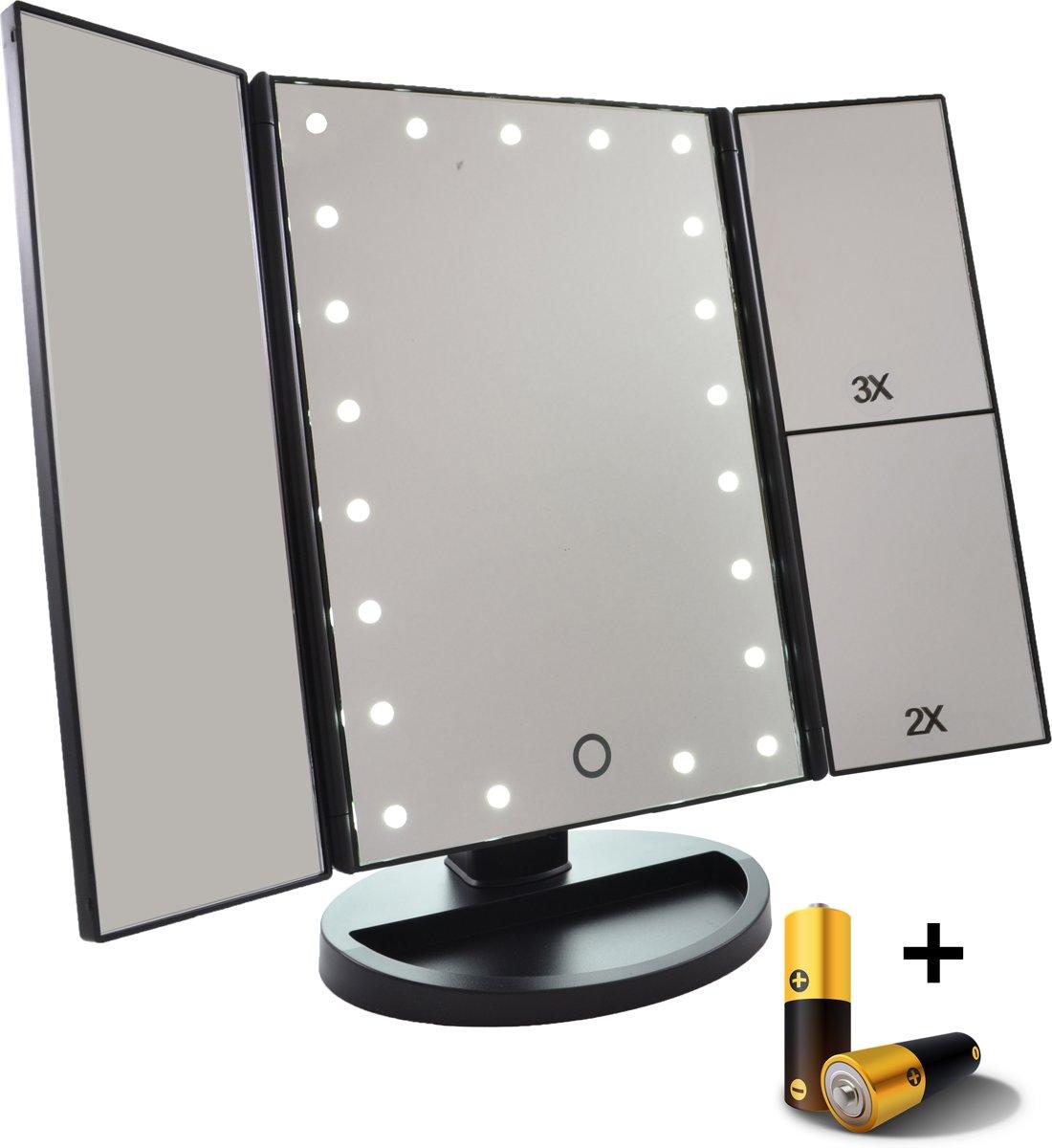 led make up spiegel met touch sensor 2 3 maal vergroting drieluik 21x led batterijen usb. Black Bedroom Furniture Sets. Home Design Ideas