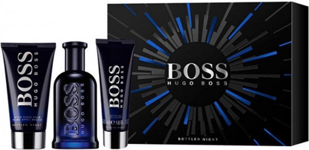 Hugo Boss bottled night eau de toilette 100ml + balsamo after shave 75ml + badgel 75ml