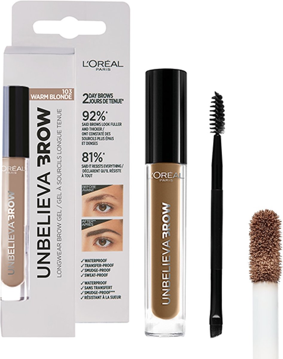 LOréal Paris Unbelieva Brow Wenkbrauwgel - 103 Warm Blonde - Blond - Waterproof - 3.4 ml