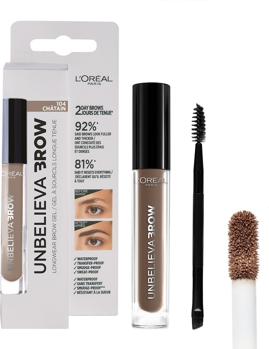 LOréal Paris Unbelieva Brow Wenkbrauwgel - 104 Chatain - Licht Bruin - Waterproof - 3.4 ml