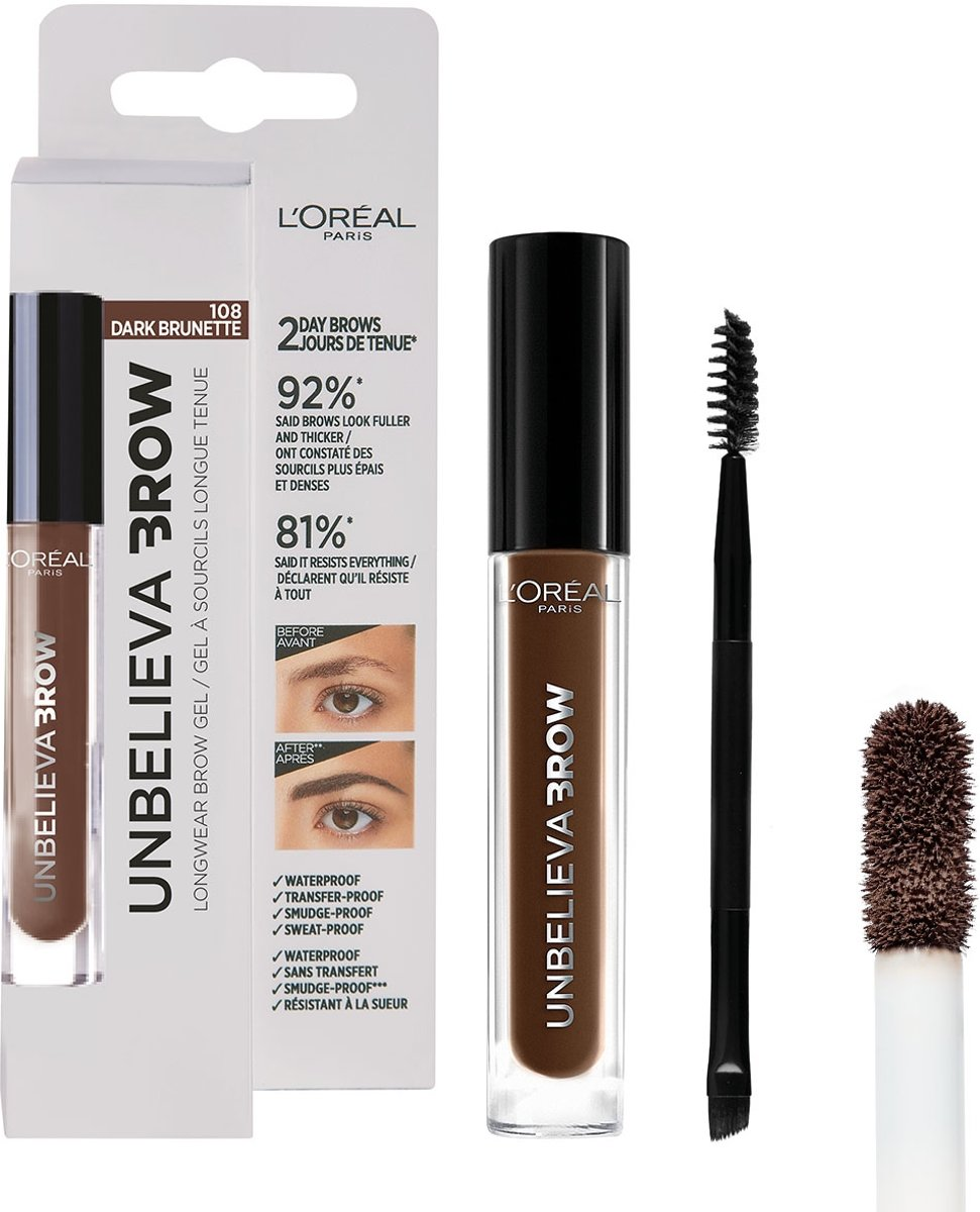 LOréal Paris Unbelieva Brow Wenkbrauwgel - 108 Dark Brunette - Bruin - Waterproof - 3.4 ml