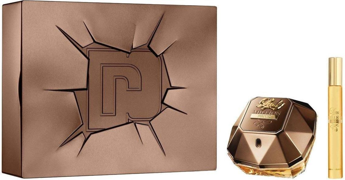 Paco Rabanne Lady Million Privé Giftset - 50 ml eau de parfum spray + 10 ml eau de parfum tasspray - cadeauset voor dames