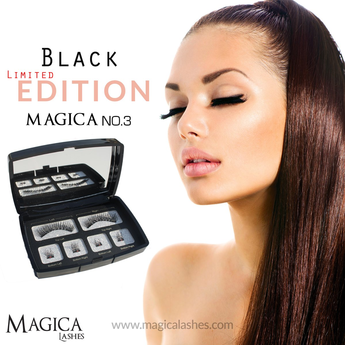 3D Magnetische Nepwimpers van Magica Lashes™ | 100% Silk fibers | Limited Black Edition | Easy Connect