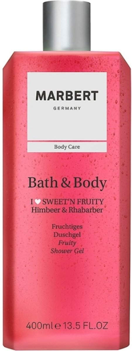 Marbert Bath & Body Fruity Himbeer & Rhabarber- 400 ml - Bad- & Douchegel