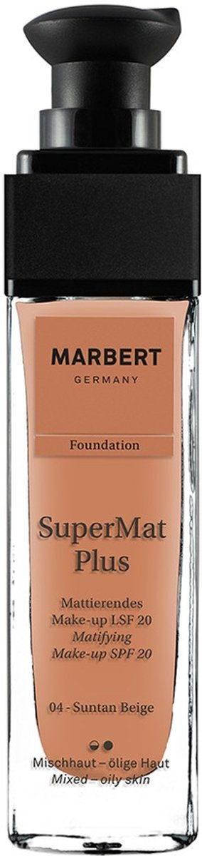 Marbert SuperMat Plus Foundation 30 ml - 04 - Suntan Beige