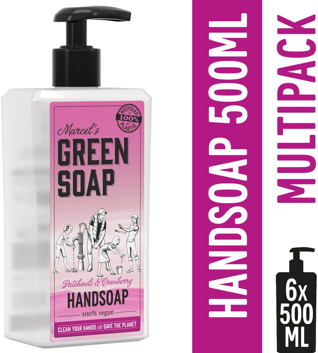 Marcels Green Soap Handzeep Patchouli & Cranberry - 500 ml. Doos a 6 flessen