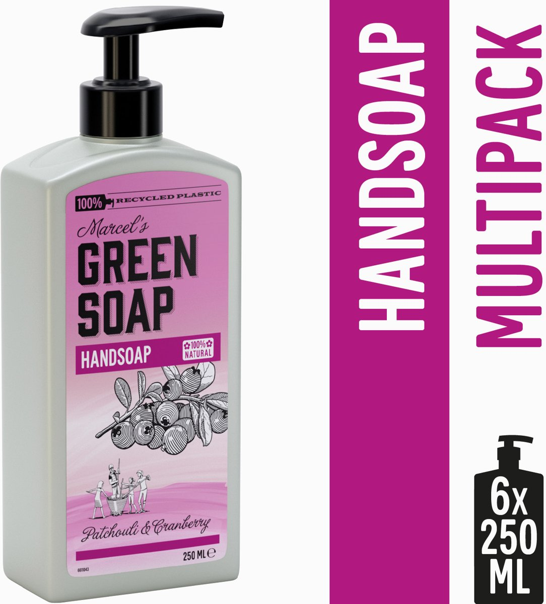 Marcels Green Soap Handzeep Patchouli & Cranberry - 6 x 250 ml
