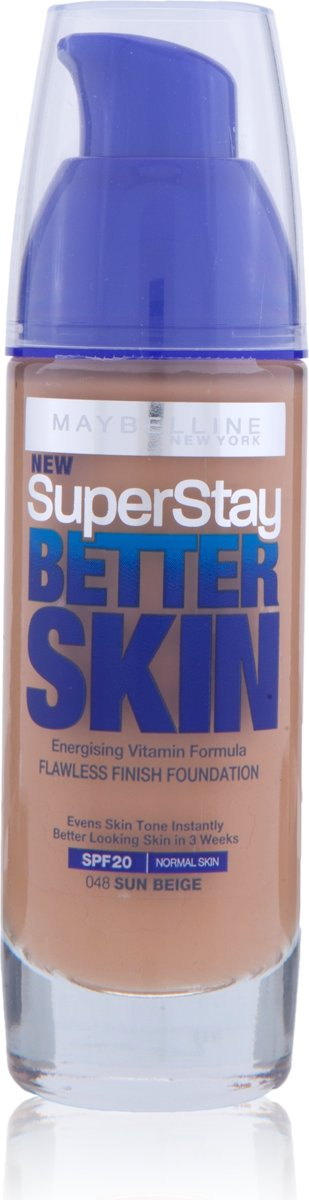 Maybelline SupStay Better Skin 048 Sun Beige Pompflacon foundationmake-up