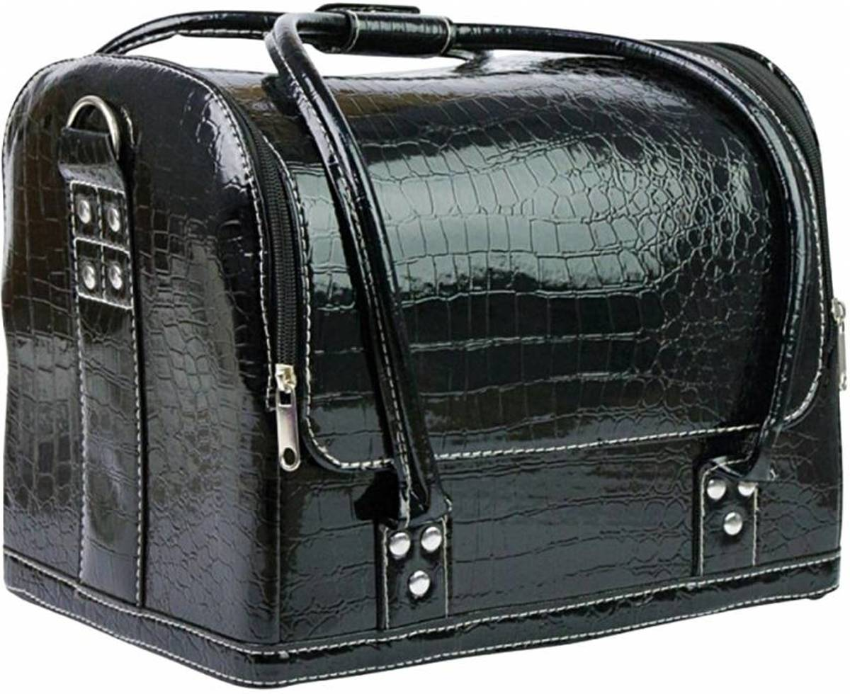 Beautycase zwart croco