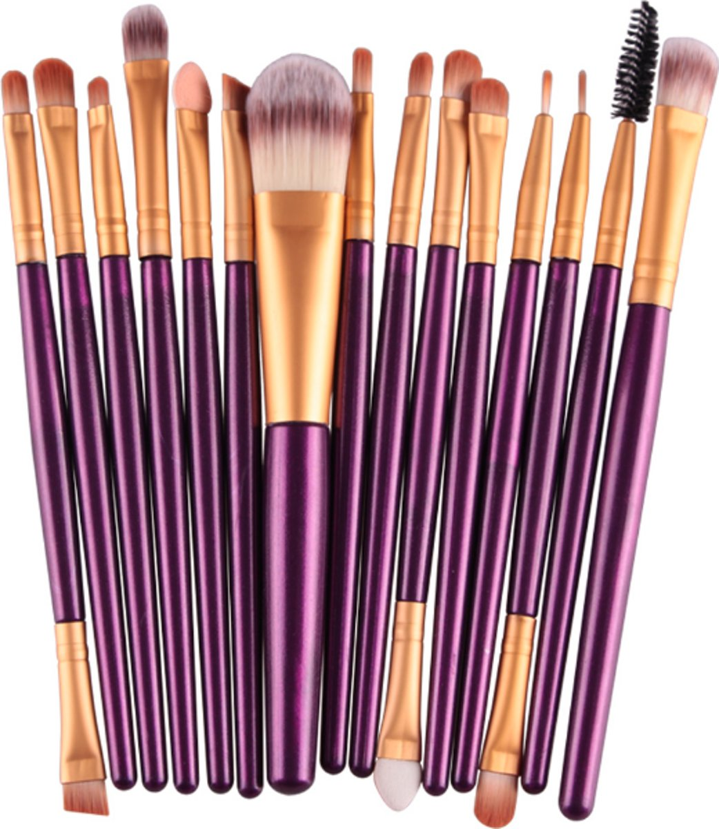 15 Delige Make-Up Kwasten Set - Oogschaduw - Foundation - Poeder - Eyeliner - Wimper - Lip - Make Up - Kwast - Beauty Tool kit