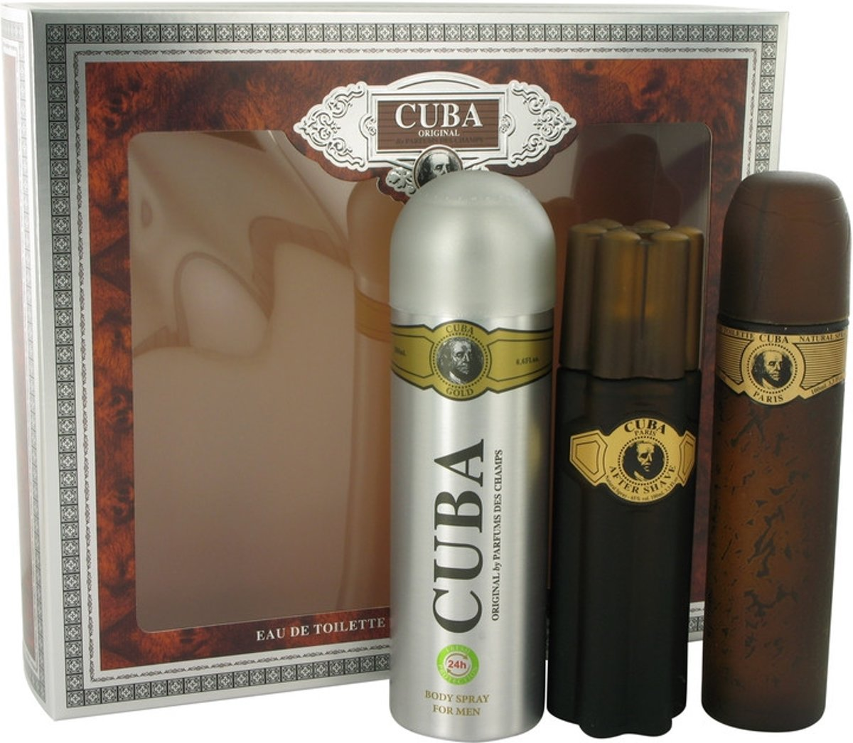 Fragluxe Cuba Gold -- - Gift Set 100 ml Eau De Toilette Spray   100 ml After Shave Spray   6.7 oz Body Deodorant Spray Men