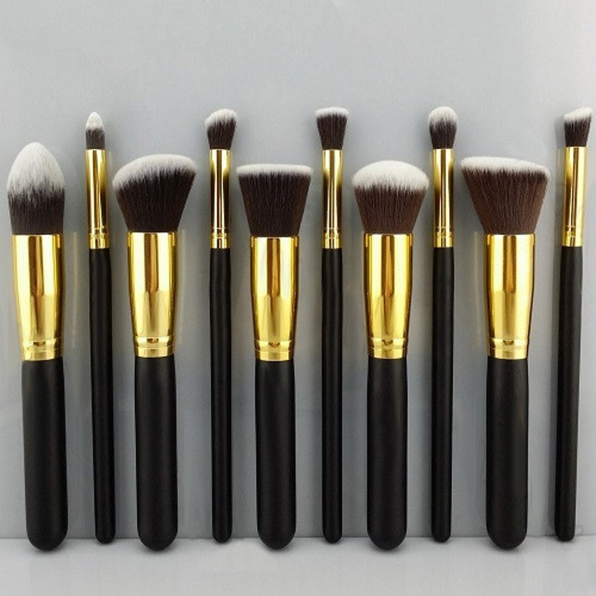 Professionele kwasten Zwart-Goud - 10 delig - Make-up Kwastenset