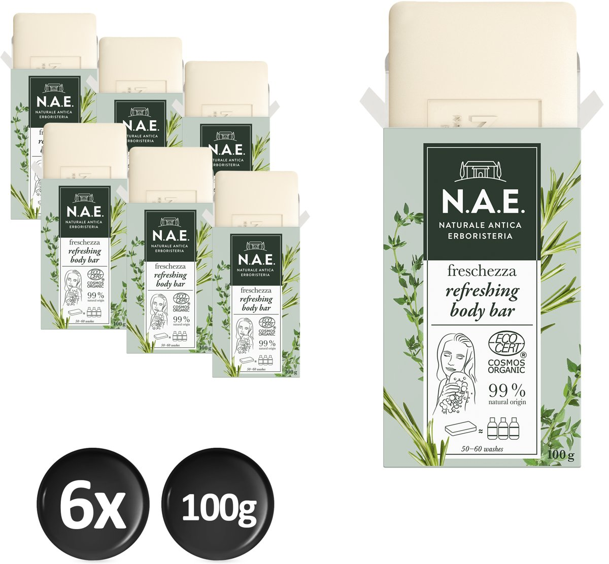 N.A.E. Freschezza Refreshing Body Bar 6x