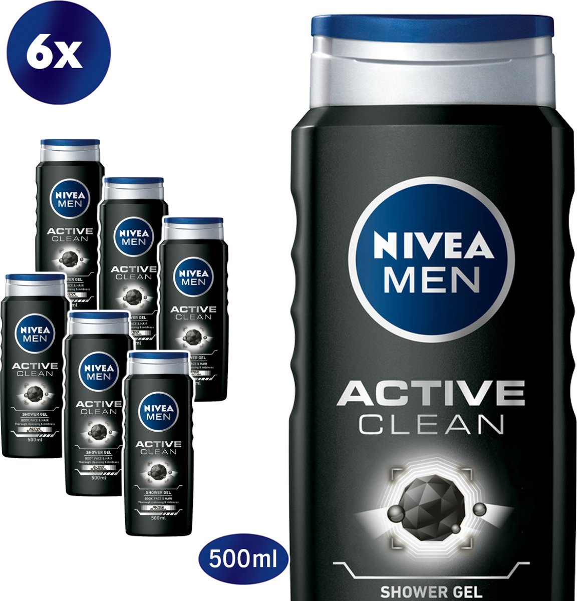 NIVEA MEN Active Clean Douchegel - 6 x 500 ml - Voordeelverpakking