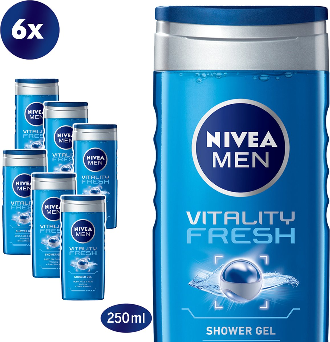 NIVEA MEN Vitality Fresh Douchegel - 6 x 250 ml - Voordeelverpakking