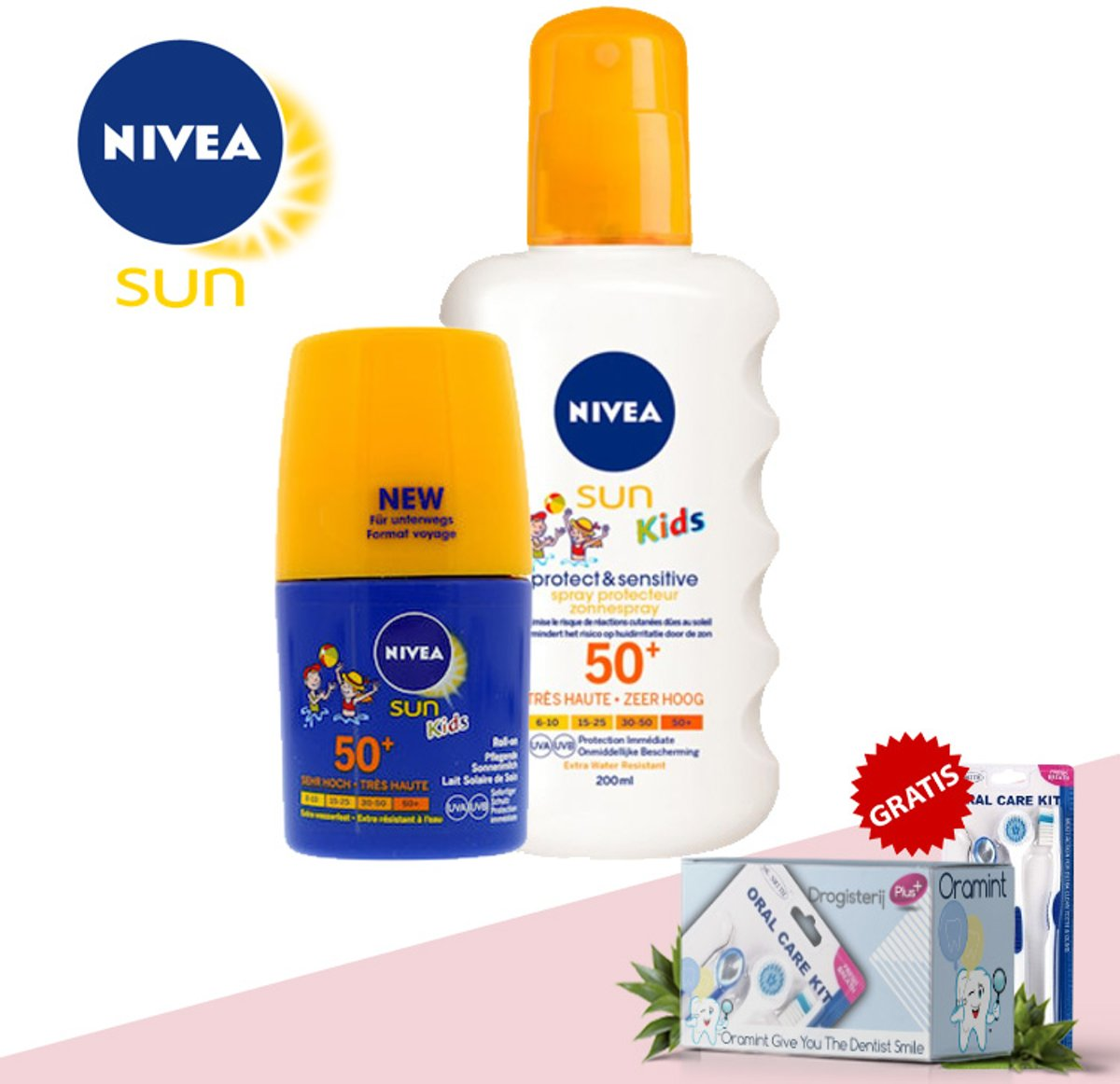 Nivea Sun Kids Protect&Sensitive SPF50+ 200ml en Nivea Sun Kids Protect&Zorg SPF50+ 50ml + Gratis Oramint Oral Care Kit