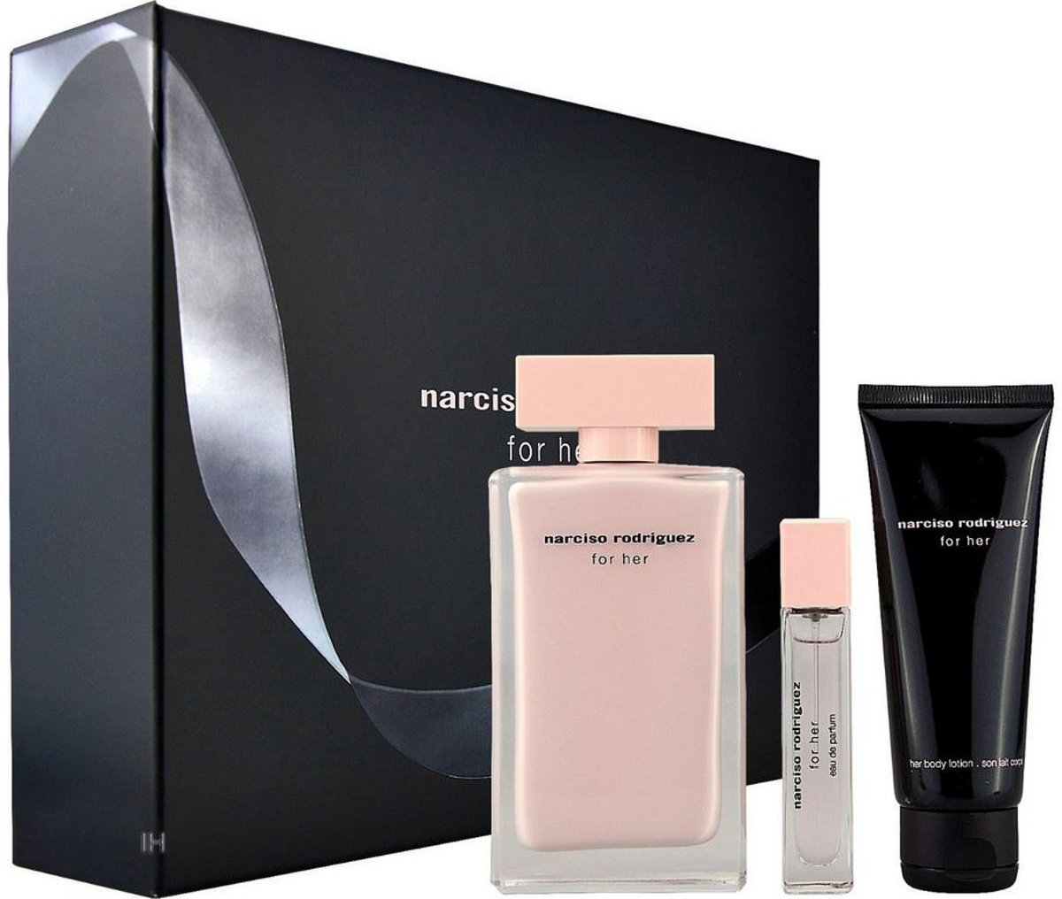 Narciso Rodriguez - Eau de parfum - For her 100ml eau de parfum + 75ml bodylotion + 10ml eau de parfum - Gifts ml