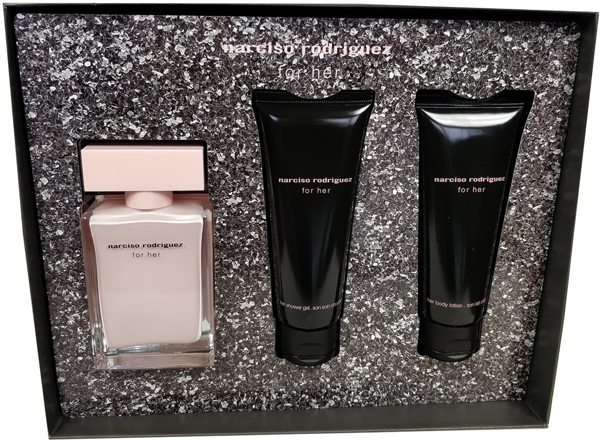 Narciso Rodriguez - Eau de parfum - For her 50ml eau de parfum + 75ml bodylotion + 75ml showergel - Gifts ml