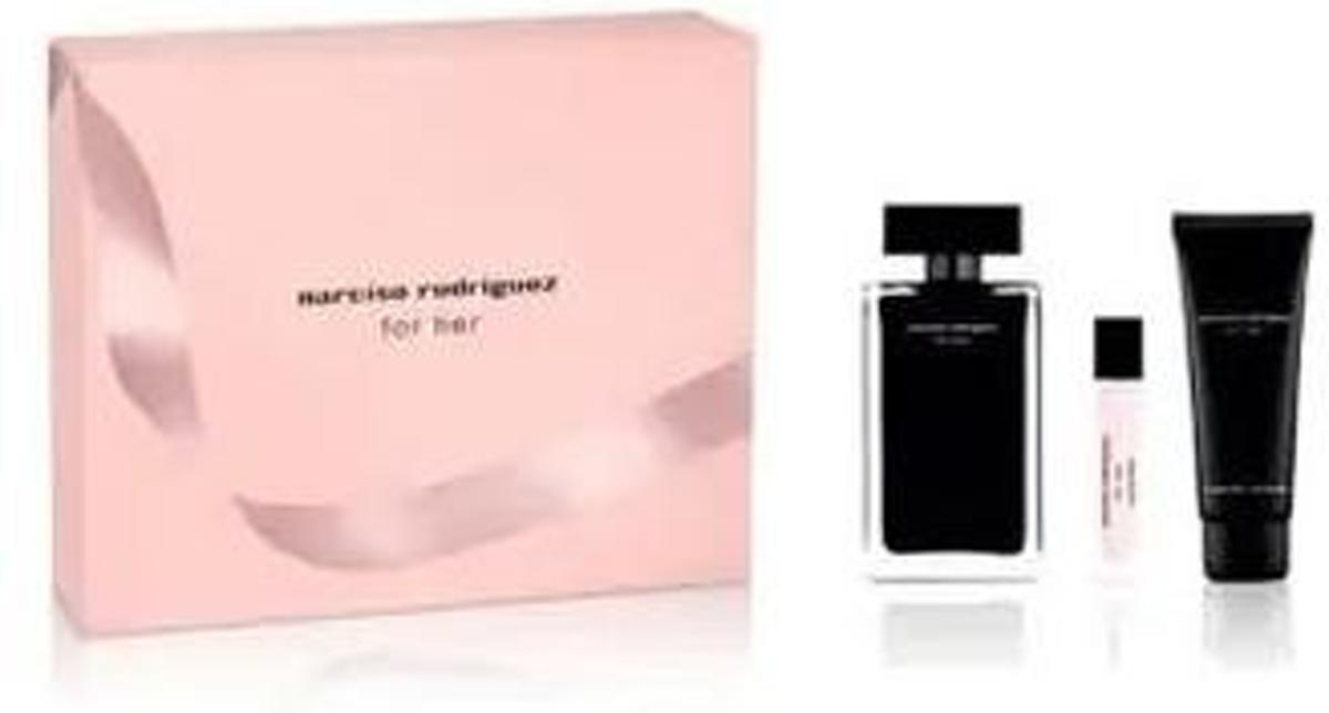 Narciso Rodriguez For Her 100 ml Edt + 10 ml Edt + 75 ml Bodylotion set